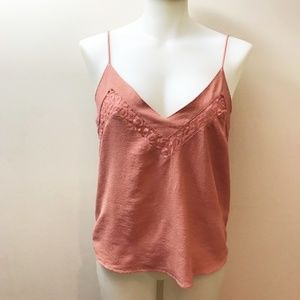 Woven cami tank with lace detail